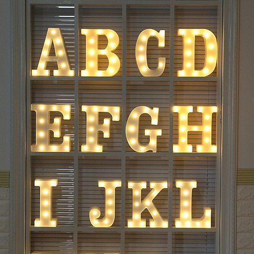 LED Letter Night Light Alphabet Number Heart Plastic LED Light For Wedding Valentines Day Ornament Birthday Party Diy Decoration