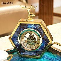 Blue Agate Texture Decorative Table Clock Nordic Golden Deer Decorative Clocks for Desktop Metal Frame Ornaments Home Decoration