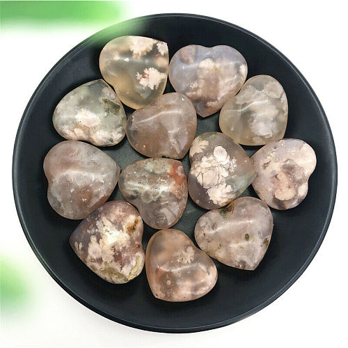 Wholesale 1PC Natural Cherry Blossom Agate Heart Hand Polished Crystal Stone Healing Decor Natural Quartz Crystals