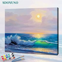 SDOYUNO 60x75cm Painting By Numbers Seascape Drawing by numbers DIY Frameless Home Decor Digital Painting On Canvas