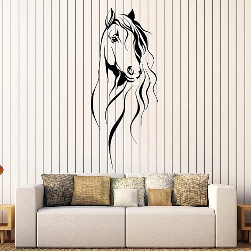 Beautiful Horse Head Wall Decal Pet Animal Art Decor Office Vinyl Wall Stickers For Living Room Chinese Style Decoration W372
