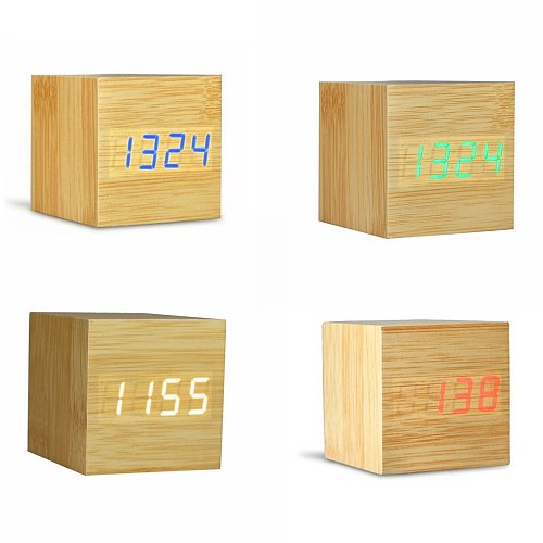 2020 Creative Digital Wooden LED Alarm Clock Wooden Clock Desktop Table Decoration Voice Control with Thermometer Desk Tools