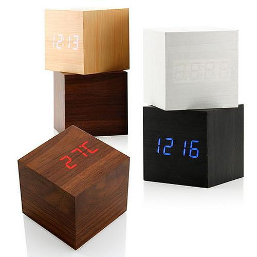 Modern Wooden Cube Digital LED Thermometer Calendar Alarm Clock Sound-controlled clock Wooden clock Electronic temperature