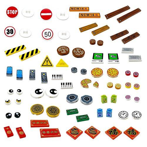 MOC Printed Tile ToyCompatible Brick Accessories Building Blocks City PC Phone Clock Pizza Parts Bricks Children Kids