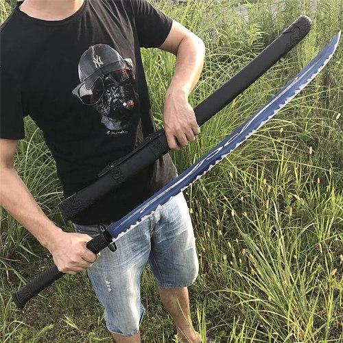 HandMade Chinese KungFu Broadsword Dao Sword Katana Very Sharp Blue High Manganese Steel Blade Full Tang