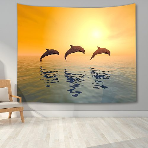 Undersea World Tapestry Wall Hanging Turtle Shark Mermaid Dolphin Tapestry 3D Printed Wall Tapestry for Living Room Bedroom Dorm