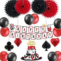 Casino Party decoration Las Vegas Themed Birthday Party Night Dangling Cutouts Honeycomb Playing Card Suite Symbols Casino Backd