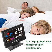 New Electronic Digital LCD Desk Clock Temperature Humidity Monitor Clock Thermometer Hygrometer Weather Forecast Table Clock