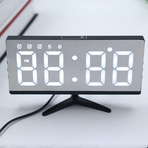LED Mirror Digital Alarm Clock Snooze Time Date Temperature Cycle Display USB Charging Battery Power Adjustable Brightness Clock
