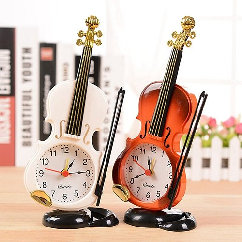 1pc Creative Instrument Table Clock Student Violin Gift Fiddle Quartz Alarm Clock Desk Plastic Craft Drop Shipping