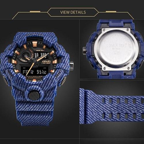 SMAEL Brand Luxury Cowboy Sport Watch New Men Military Watches Analog Army Digital Writwatch 8001 Waterproof Clock Men's Watch