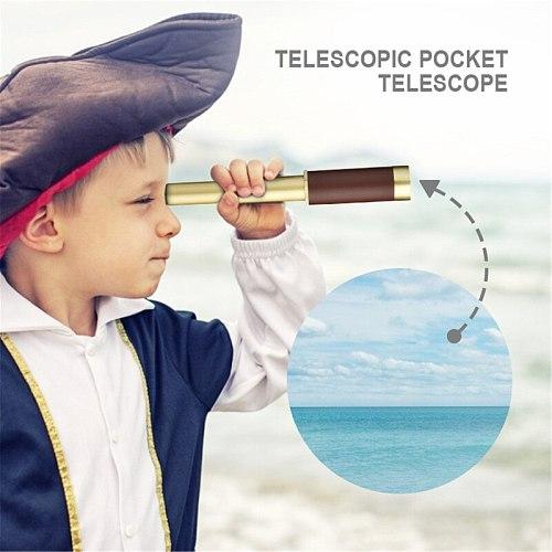 Retro Binoculars Pirate Spotting Scope Foldable Portable Pocket Spotting Scope Variable Zoom Waterproof Decorative Telescopes