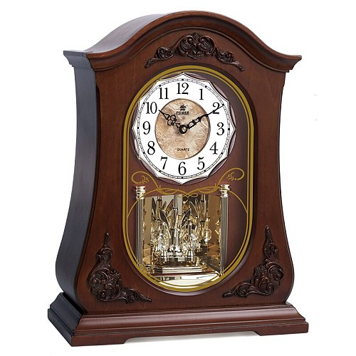 BRAND NEW HIGH-END WOODEN DESK CLOCK SILENT QUARTZ MOVEMENT TABLE CLOCK CRYSTAL WESTMINSTER MUSIC HOURLY CHIMING