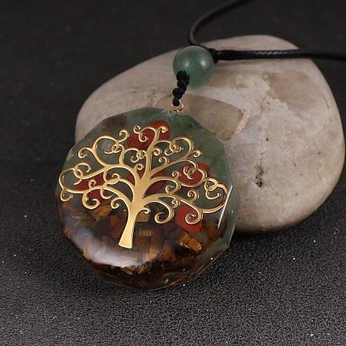7 Chakra Quartz Natural Stone Tree of Life Orgone Pendant Necklace Men Women Healing Round Crystal Resin Necklaces Reiki Jewelry