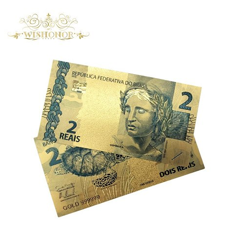 Nice Products 10pcs/lot Color Brazil Gold Banknotes 2 Reals Banknote in 24K Gold Plated Paper Money For Collection