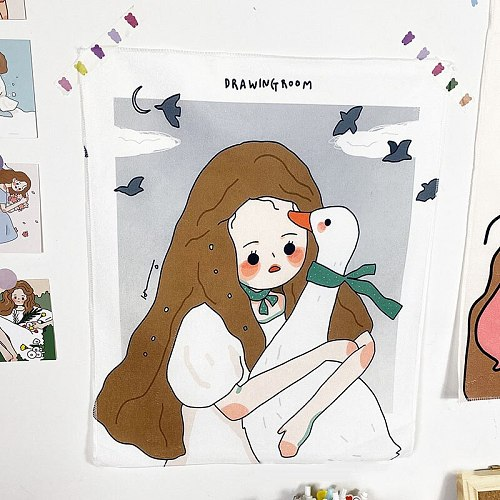 New Lovely girl Ins Nordic illustration tapestry wall decoration bedroom transformation background cloth home decoration