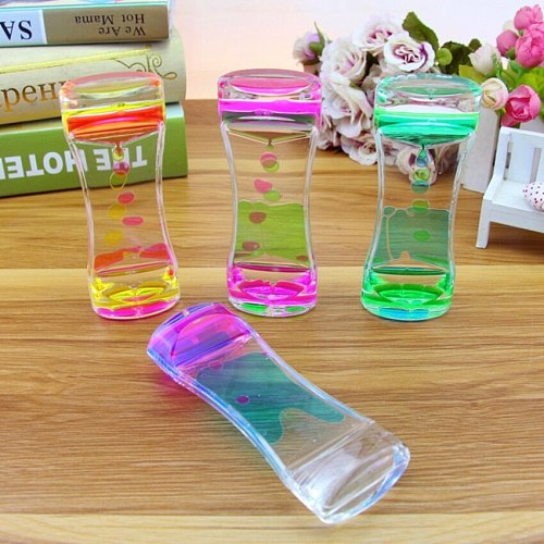 Liquid Motion Bubbler Timer Dual Colors Oil Hourglass Bubble Hourglass Soothing Visual Sensor Relaxing Toy, Great Gift for Boys
