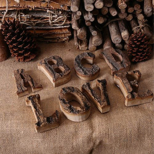 Together With Bark Wood Retro Wooden English Letters Alphabet Number For Cafeteria Bar party Home Decoration Vintage Diy Letter