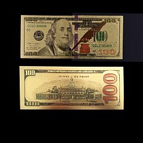 American 24k Colorful Gold Banknote Rare US Fake Money 100 Dollar Currency Bill Note Festival Souvenir Gifts Value Collection