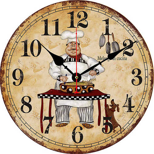 modern Large Shabby Chic Rustic Kitchen Chef cooking good wine Wall Clock 16  Kitchen Chef Wine Round Wall Wooden Clock
