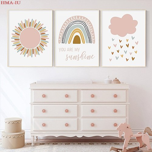 Nordic Posters And Prints Sun Rainbow Wall Art Canvas Painting Cartoon Pictures