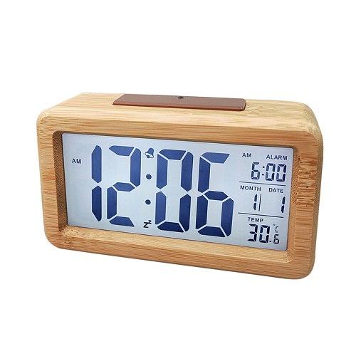 Digital Alarm Clock, Wooden Time Display Electronic Clocks Battery Operated with Sensor Backlight, for Bedroom Bedside