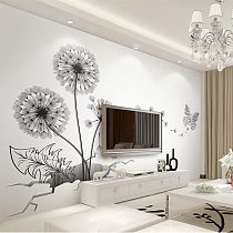 Black Sticker Creative Dandelion Wall Cover Decals Home Deor Removable Vinyl Stickers for Kids Room Living Room Decorations