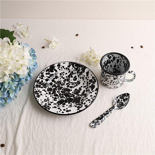 Art Black Marble pattern Breakfast Check Heart Salad Flat Picnic Plate dish bowl spoon