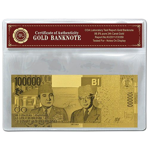 2019 Year Indonesia Gold Banknote 10000 Rupiah Gold Foil Banknote With Plastic Frame