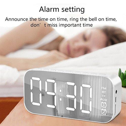 HiFi Bluetooth Speaker LED Mirror Screen Alarm Clocks Mobile Phone Subwoofer Watch Table Digital Clock Despertador MP3 TF FM AUX