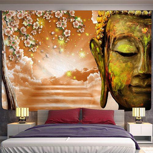 Sakura Buddhism Tapestry Wall Hanging Boheme Mandala Tapestry 3D  Home Decor Living Room Background Wall Carpet Cloth Hippie