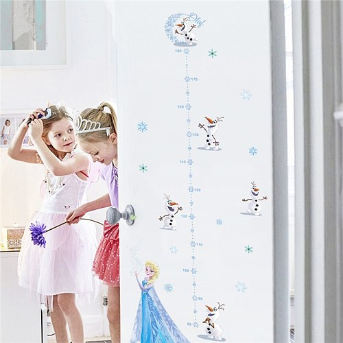 Cartoon Olaf Elsa Wall Stickers Kids Room Home Decoration Frozen Decals Anime Movie Mural Art Growth Chart For Height Measure