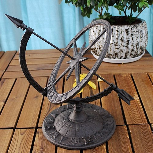 Round Cast Iron Roman Calendar Sundial Ornaments Lawn Garden Yard Desk Home Arts Decor Sundials Vintage Metal Crafts Gift Retro