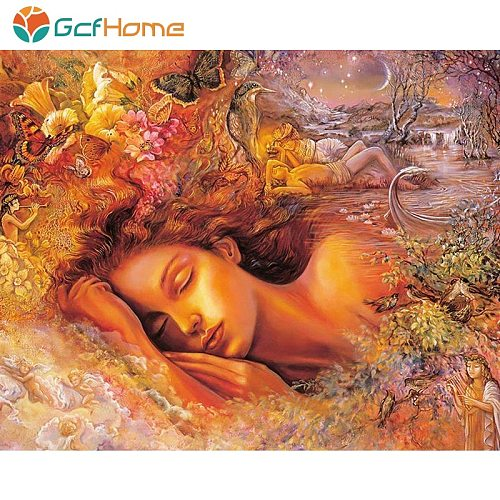 GCFHome Frame Romantic Flower DIY Painting By Numbers Landscape Modern Wall Art Canvas Hand Painted Paint By Number For Home Art