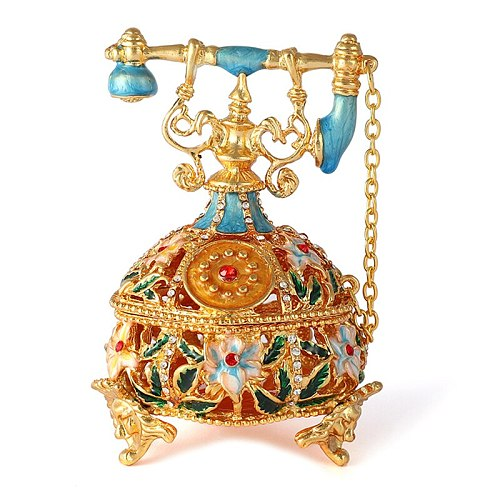 FLETCHER Brand Exquisite Vintage  Glold and Hollow Style Telephone for Home Decor