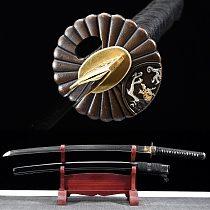 41 Inch Japanese Samurai Katana 1095 Steel Clay Tempered Blade Razor Sharp Real Swords Handmade Full Tang Brass Silver Tsuba
