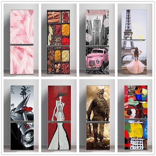 3D Pink Girl Refrigerator Sticker Door Cover Renovation Adhesive Vinyl Fridge Stickers Wallpapers Mural Art Decal Kitchen Decor