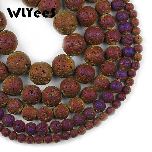 WLYeeS Round Plated Purple Lava loose Beads 4 6 8 10 12mm Natural Volcanic Rock Stone for DIY Jewelry Bracelet Making Finding