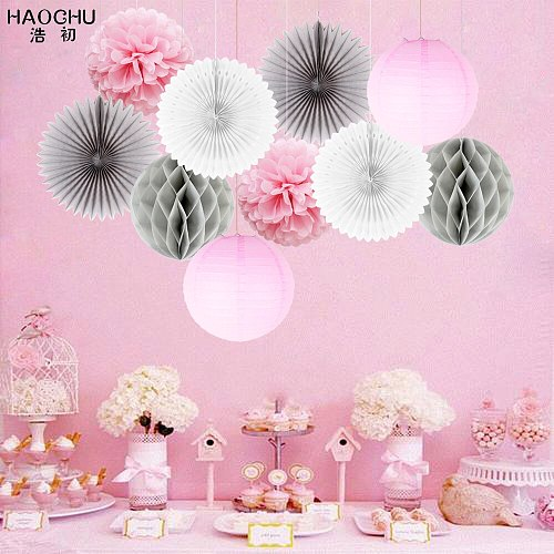 10pcs/lot Mix Paper Hanging Ball Craft Decor Set Round China Paper Lantern/Flower/Fan For Birthday Wedding Party Decoration Gift