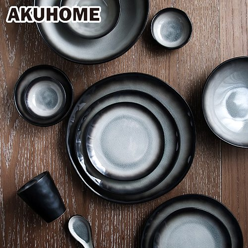 Japanese Style Steak Ceramic Plate Set Dishes Tea Cup Creative Soup Bowl 7 9 10 Inch Tableware