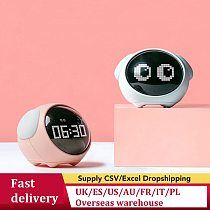 2021 New Cute Expression Alarm Clock Multifunctional Bedside Voice Control Night Light Snooze Chargeable Child Alarm Clock100500