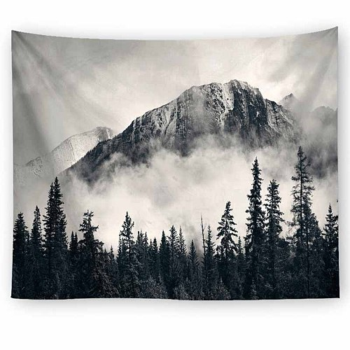 Natural Scenery Landscape Gray Foggy Forest Tapestry Wall Hanging Bedroom Decor Wall Tapestry Wall Fabric Psychedelic Tapestry