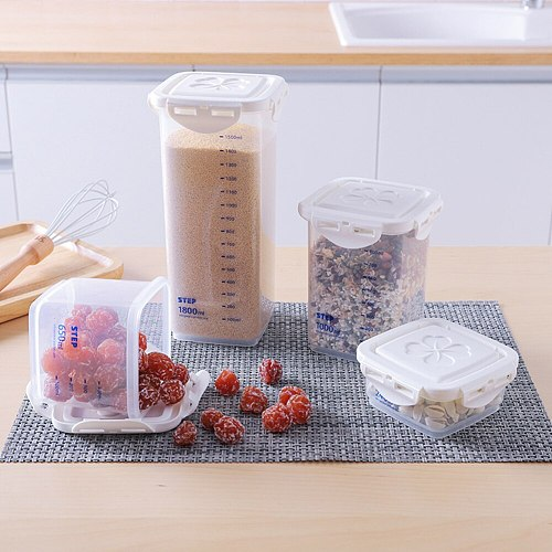 Scaled Food Preservation Container Moistureproof Coarse Cereals Grains Jar Scale Bottle Kitchen Cans Sealing Box Tank