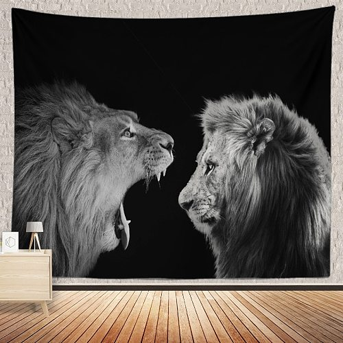 Anime Lion Tapestry Psychedelic BohemianAnimalcartoon oil painting artwall hanging beach towelyoga blanket wall HippieDecoration
