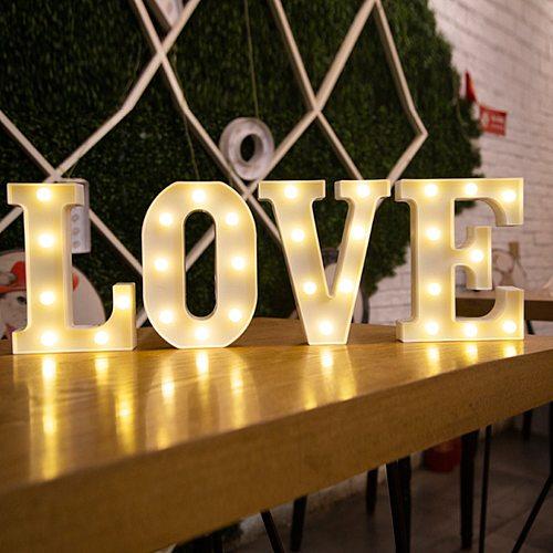 16/22CM DIY Luminous Lights LED Letter Night Light Creative  Alphabet Number Battery Lamp Romantic Wedding Party Decoration