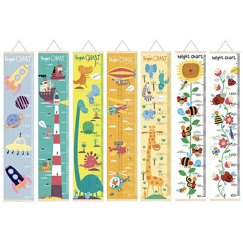Cartoon Wood Canvas Baby Kids Measure Height Ruler Children Growth Chart Room Wall Hanging Home Decoration