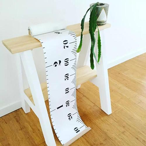 Height Ruler Hanging Growth Chart Waterproof Fabric Kids Baby Height Chart Hanging Rulers for Nursery Wall Wood Frame Home Decor