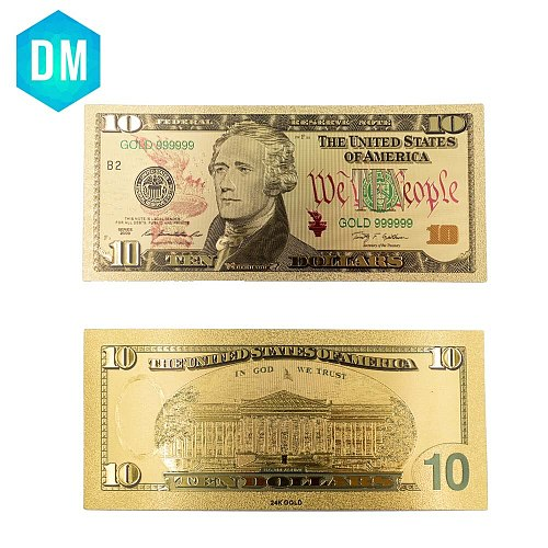 Holiday Gifts 10 Dollar 24k Gold Banknote 999.9 Gold Foil Color Note Money Creative US Paper Money with COA Frame