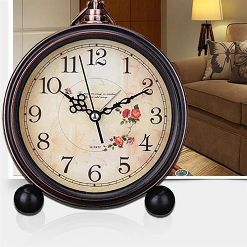 Antique Style Clocks Silent Retro Table Clock Quiet Non-Ticking Clock Classic Retro Clock Desk Alarm Clock(Without Battery)