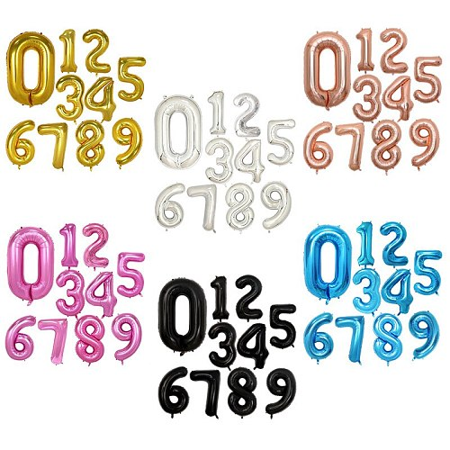 16/32/40 Inch Number Foil Balloons for Birthday Figures or Wedding Anniversaire Decoration Digit Helium Balls Air Party Supplies